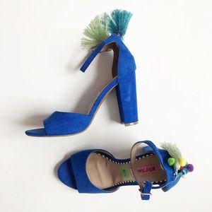 Blue Betsy Johnson fringe and tassel block sandal